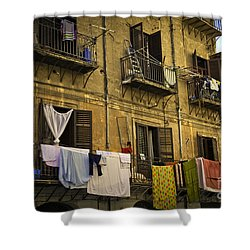 Hanging Out To Dry In Palermo  Shower Curtain by Madeline Ellis