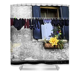 Hanging Out To Dry In Venice 2 Shower Curtain by Madeline Ellis