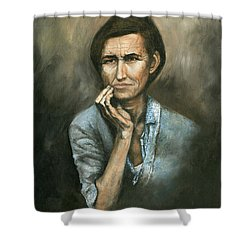 Shower Curtain featuring the painting Hannah -timeless Beauty by Mary Ellen Anderson