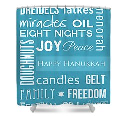 Hanukkah Fun Shower Curtain by Linda Woods