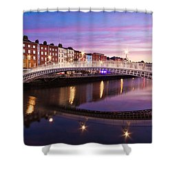 Shower Curtain featuring the photograph Hapenny Bridge At Dawn - Dublin by Barry O Carroll