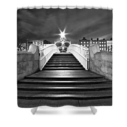Shower Curtain featuring the photograph Ha'penny Bridge Steps At Night - Dublin - Black And White by Barry O Carroll