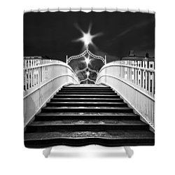 Shower Curtain featuring the photograph Ha'penny Bridge Steps - Dublin - Black And White by Barry O Carroll