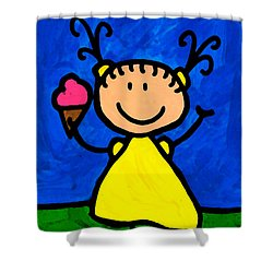 Happi Arte 3 - Little Girl Ice Cream Cone Art Shower Curtain by Sharon Cummings
