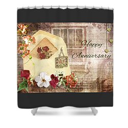 Shower Curtain featuring the mixed media Happy Anniversary Mom And Dad by Paula Ayers