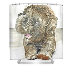 happy baby elephant shower curtain