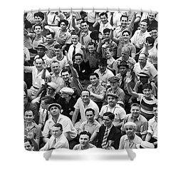 Happy Baseball Fans In The Bleachers At Yankee Stadium. Shower Curtain by Underwood Archives