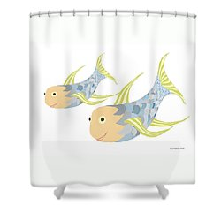 Happy Blue Fish Shower Curtain by Fred Jinkins