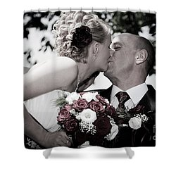 Happy Bride And Groom Kissing Shower Curtain by Michal Bednarek