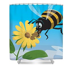 Happy Cartoon Bee With Yellow Flower Shower Curtain by Martin Davey