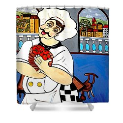 Shower Curtain featuring the painting Chef  Happy Chef by Nora Shepley