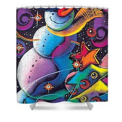 Happy Christmas Shower Curtain by Leon Zernitsky