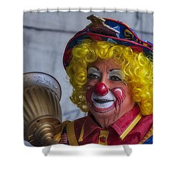 Happy Clown Shower Curtain by Susan Candelario