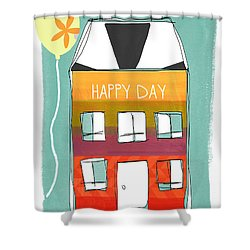Happy Day Card Shower Curtain by Linda Woods