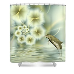 Happy Dolphin In A Surreal World Shower Curtain