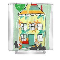 Happy Easter Card Shower Curtain by Linda Woods