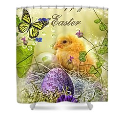 Happy Easter Shower Curtain by Mo T