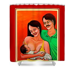 Shower Curtain featuring the mixed media Happy Family by Cyril Maza