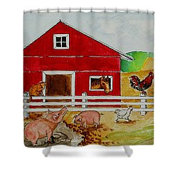 Happy Farm Shower Curtain