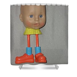 Shower Curtain featuring the sculpture Baby Long Legs by Douglas Fromm