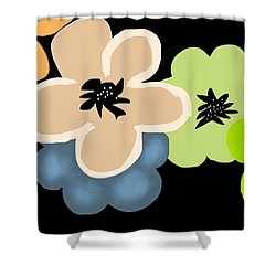 Shower Curtain featuring the digital art Happy Flowers Blue by Christine Fournier