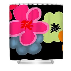 Shower Curtain featuring the digital art Happy Flowers Pink by Christine Fournier