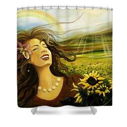 Happy Shower Curtain by Gina De Gorna