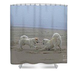 Happy Girls Beach Side Shower Curtain by Fiona Kennard