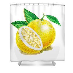 Shower Curtain featuring the painting Happy Grapefruit- Irina Sztukowski by Irina Sztukowski