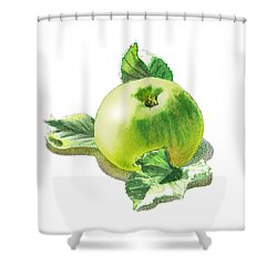 Shower Curtain featuring the painting Happy Green Apple by Irina Sztukowski