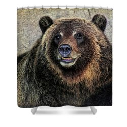 Happy Grizzly Bear Shower Curtain