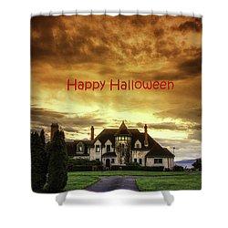 Happy Halloween Fiery Castle Shower Curtain by Eti Reid
