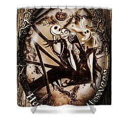 Happy Halloween IIi Sepia Version Shower Curtain