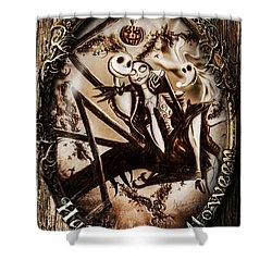 Happy Halloween IIi Sepia Version Shower Curtain by Alessandro Della Pietra