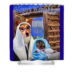Shower Curtain featuring the digital art Happy Hanukkah  - 2 by Kathy Tarochione