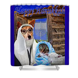Shower Curtain featuring the digital art Happy Hanukkah -1 by Kathy Tarochione