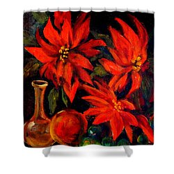 New Orleans Red Poinsettia Oil Painting Shower Curtain