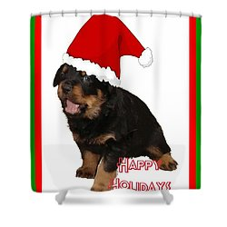 Happy Holidays Rottweiler Christmas Greetings  Shower Curtain by Tracey Harrington-Simpson