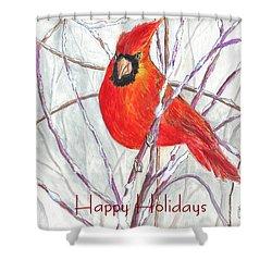 Happy Holidays Snow Cardinal Shower Curtain