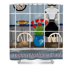Shower Curtain featuring the digital art Happy Homemaker by Christine Fournier