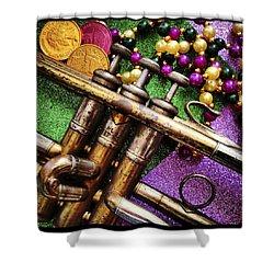 Happy Mardi Gras Shower Curtain by KG Thienemann