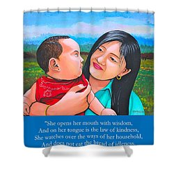 Shower Curtain featuring the mixed media Happy Mom And Babe by Cyril Maza