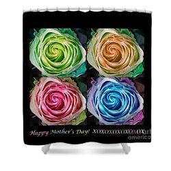Happy Mothers Day Hugs Kisses And Colorful Rose Spirals Shower Curtain by James BO  Insogna