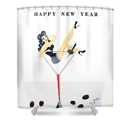 Shower Curtain featuring the painting Happy New Year by Nora Shepley