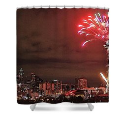 Happy New Year Seattle Shower Curtain by Benjamin Yeager