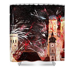 Happy New Year - With Fireworks In Munich Shower Curtain by M Bleichner