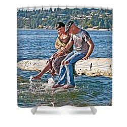 Happy Older Couple Splashing Feet In Water Art Prints Shower Curtain