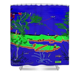Happy Peninsula Digital Painting Shower Curtain by Colette Dumont