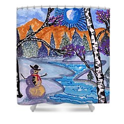 Happy Snowman Shower Curtain by Connie Valasco