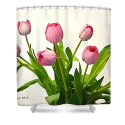 Shower Curtain featuring the digital art Happy Spring Pink Tulips 2 by Jeannie Rhode